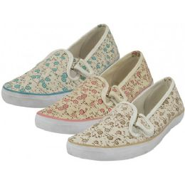 24 Units of Women's Double Velcro Floral Print Canvas Shoes - Women's Sneakers