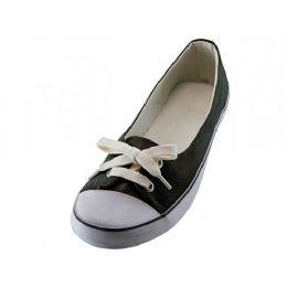 24 Units of Women's Lace Up Canvas Shoe Black Color - Women's Sneakers