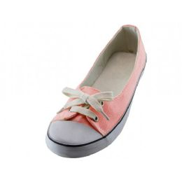 24 Units of Women's Lace Up Canvas Shoe Pink Color - Women's Sneakers