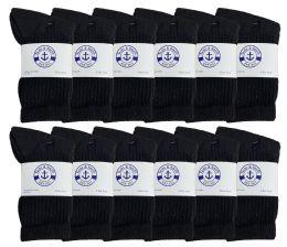 240 Units of Yacht & Smith Kids Cotton Terry Cushioned Crew Socks Black Size 6-8 Bulk Pack - Boys Crew Sock