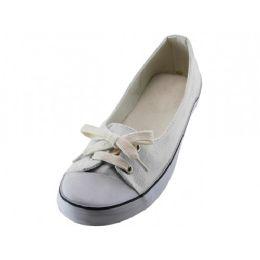 24 Units of Women's Lace Up Canvas Shoe White Color - Women's Sneakers