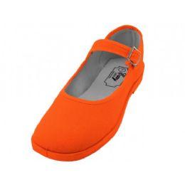 36 Units of Women's Cotton Upper Mary Janes Shoe Orange Color - Women's Sneakers
