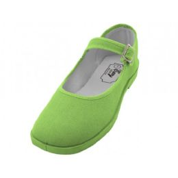 36 Units of Women's Cotton Upper Mary Janes Shoe Light Green Color - Women's Sneakers