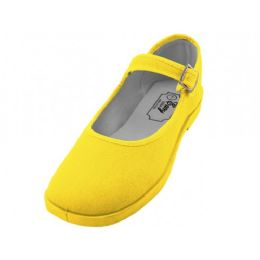 36 Units of Women's Cotton Upper Mary Janes Shoe Yellow Color - Women's Sneakers