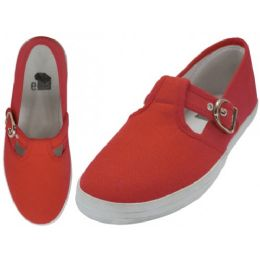 24 Units of Women's Solid T-Strap Canvas Shoes Red Color - Women's Sneakers