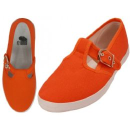 24 Units of Women's Solid T-Strap Canvas Shoes Mandarin Orange Color - Women's Sneakers