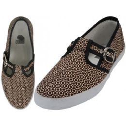 24 Units of Women's Solid T-Strap Canvas Shoes Micro Printed - Women's Sneakers