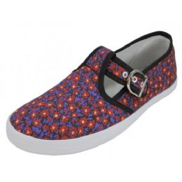 24 Units of Women's Solid T-Strap Canvas Shoes Mini Meadow Print - Women's Sneakers