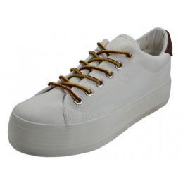 12 Units of Women's Lace Up Flatform Canvas Shoe White Color - Women's Sneakers