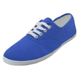 24 Units of Women's Casual Canvas Lace Up Shoes In Royal Blue - Women's Sneakers