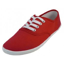 24 Units of Women's Casual Canvas Lace Up Shoes In Red - Women's Sneakers