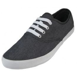 24 Units of Women's Chambray Upper With Shoe Lace Shoes Black Color - Women's Sneakers