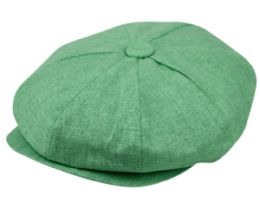 12 Units of Newsboy Caps In Apple Green - Fedoras, Driver Caps & Visor