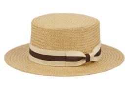 12 Units of Richman Brothers Straw Boater Hats With Stripe Band In Light Brown - Fedoras, Driver Caps & Visor