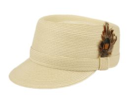 12 Units of Richman Brothers Polybraid Cap With Feather In Natural - Fedoras, Driver Caps & Visor