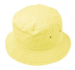 12 Units of Plain Cotton Bucket Hats In Banana Yellow - Bucket Hats