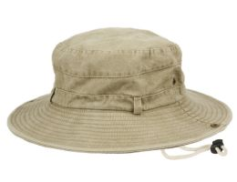 12 Units of 100% WASHED COTTON OUTDOOR BUCKET HATS W/CHIN CORD STRAP - Bucket Hats