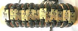 60 Units of Gold color Zodiac Faux Leather Braecelet - Bracelets