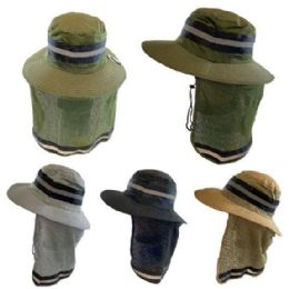 36 Units of Cotton Mesh Reflective Boonie Hat with Mesh Neck Flap [Solid] - Sun Hats