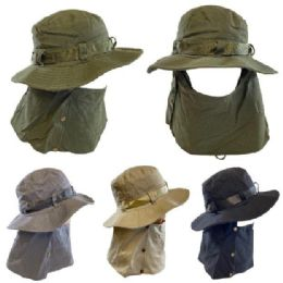 24 Units of Cotton Soft Boonie Hat with Snap-Up Neck and Face Cover [Solid] - Sun Hats