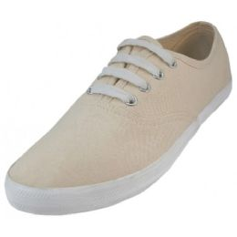 24 Units of Women's Chambray Upper With Shoe Lace Shoes Cream Color - Women's Sneakers