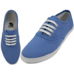 24 Units of Women's Casual Canvas Upper Lace Up Shoe Blue Color - Women's Sneakers