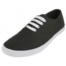24 Units of Women's Casual Canvas Upper Lace Up Shoe Black Color - Women's Sneakers