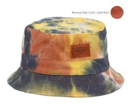 12 Units of TIE DYE COTTON REVERSIBLE BUCKET HATS IN MIX RUST - Bucket Hats