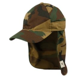 12 Units of SUN PROTECTION COTTON RIPSTOP FISHING CAP WITH REMOVABLE NECK FLAP IN CAMO GREEN - Hunting Caps