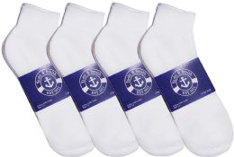 12 Units of Yacht & Smith Mens Lightweight Cotton Sport White Quarter Ankle Socks, Sock Size 10-13 - Mens Ankle Sock