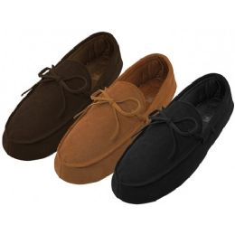 24 Units of Men's Leather Upper Moccasins Insulated House Slippers - Men's Slippers