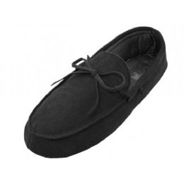 24 Units of Men's Leather Upper Moccasin Insulated House Slippers - Men's Slippers
