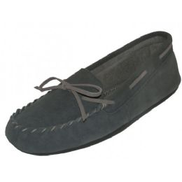 24 Units of Wholesale Women's Grey Leather Moccasins - Women's Slippers