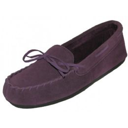 24 Units of Wholesale Women's Purple Leather Moccasins - Women's Slippers