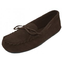 24 Units of Wholesale Women's Brown Leather Moccasins - Women's Slippers