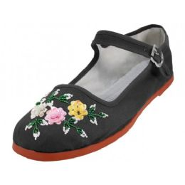 48 Units of Women's Cotton Upper With Hand Sequins Classic Mary Jane Shoes In Black - Women's Flats