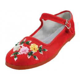 48 Units of Women's Cotton Upper With Hand Sequins Classic Mary Jane Shoes In Red Color - Women's Flats