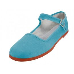 36 Units of Women's Canvas Classic Mary Janes In Light Blue Color - Women's Flats