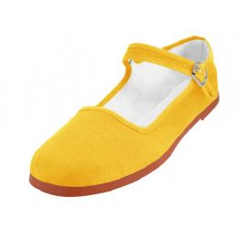 36 Units of Women's Canvas Classic Mary Janes In Yellow Color - Women's Flats