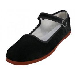 36 Units of Women's Velvet Upper Classic Mary Jane Shoes In Black Color - Women's Flats