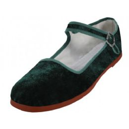 30 Units of Women's Velvet Upper Classic Mary Jane Shoes In Green Color - Women's Flats