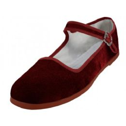 36 Units of Women's Velvet Upper Classic Mary Jane Shoes In Maroon Color - Women's Flats