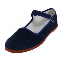 36 Units of Women's Velvet Upper Classic Mary Jane Shoes In Navy Color - Women's Flats