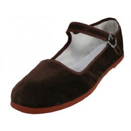 36 Units of Women's Velvet Upper Classic Mary Jane Shoes In Brown Color - Women's Flats