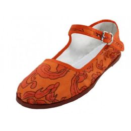 36 Units of Women's Cotton Upper Classic Mary Jane Shoes In Orange Color - Women's Flats