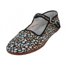 36 Units of Womens Fruit Printed Cotton Upper Classic Mary Jane Shoes - Women's Flats