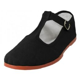 36 Units of Women's T-Strap Cotton Upper Classic Mary Jane Shoes In Black - Women's Flats