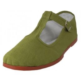 36 Units of Women's T-Strap Cotton Upper Classic Mary Jane Shoes In Khaki - Women's Flats