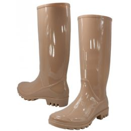 12 Units of Women's 13.5 Inches Water Proof Rubber Rain Boots Nude Color - Women's Boots