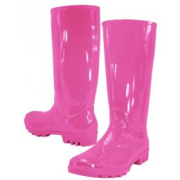 12 Units of Women's 13.5 Inches Water Proof Rubber Rain Boots Fuschia Color - Women's Boots